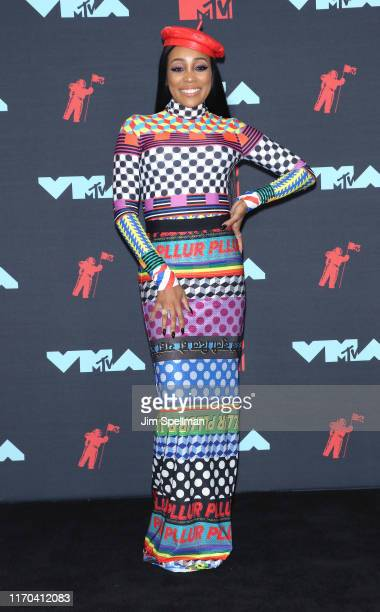 Singer Monica poses in the Press Room during the 2019 MTV Video Music Awards at Prudential Center on August 26 2019 in Newark New Jersey