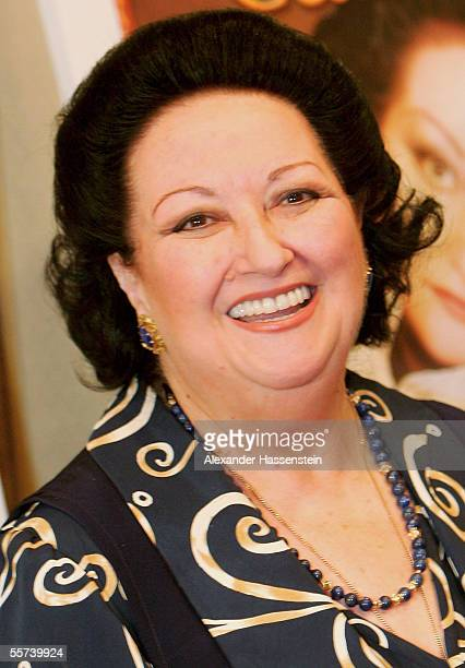 Singer Montserrat Caballe poses for the photographers during a press conference at the Intercontinental Hotel in Hamburg.