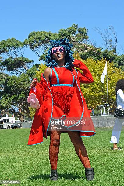 Singer Moonchild during the Sun Met 2017 at the Kenilworth racecourse on January 28 2017 in Cape Town South Africa Celebrities fashion influencers...