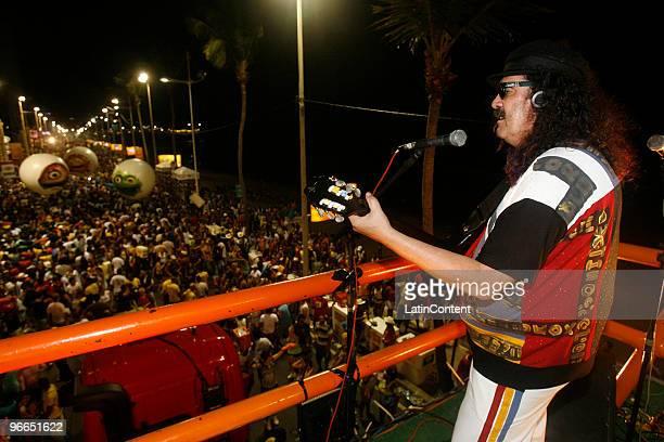 Singer Moraes Moreira perfoms at Circuito Dodo during the Salvador's carnival parade on February 13, 2010 in Salvador, Brazil.