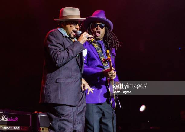 Singer Morris Day and Torrell Ruffin of the Time perform at The Soundboard Motor City Casino on February 1 2018 in Detroit Michigan