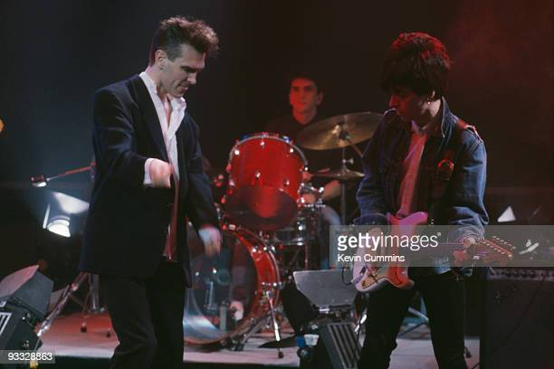 Singer Morrissey and guitarist Johnny Marr of English group The Smiths perform on the BBC television show 'The Oxford Road Show' filmed in Manchester...