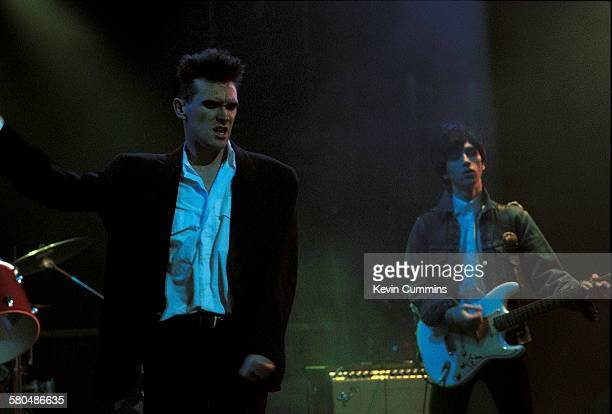 Singer Morrissey and guitarist Johnny Marr of English rock group The Smiths performing on the BBC television show 'The Oxford Road Show' filmed in...