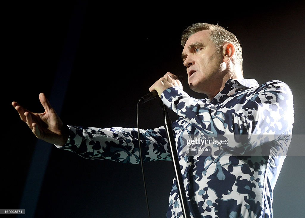Singer Morrissey performs at Hollywood High School on March 2, 2013 in Los Angeles, California.