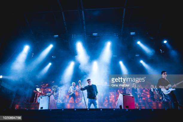 Singer Morten Harket of the Norwegian band AHA performs live on stage during a concert at the Zitadelle Spandau on August 21 2018 in Berlin Germany