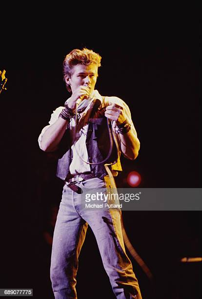 Singer Morten Harket performing with Norwegian pop group Aha UK circa 1987
