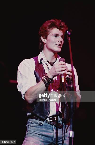 Singer Morten Harket performing with Norwegian pop group Aha UK circa 1987