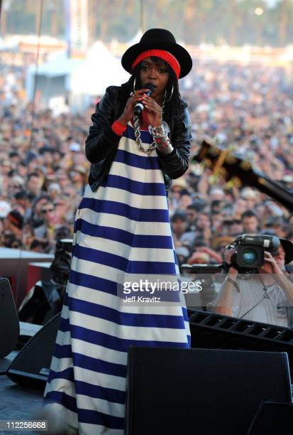 Singer Ms Lauryn Hill perform during Day 1 of the Coachella Valley Music Arts Festival 2011 held at the Empire Polo Club on April 15 2011 in Indio...