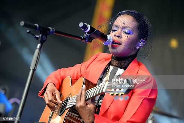 Singer Ms Lauryn Hill performs onstage at the New Orleans Jazz Heritage Festival at Fair Grounds Race Course on April 29 2016 in New Orleans Louisiana