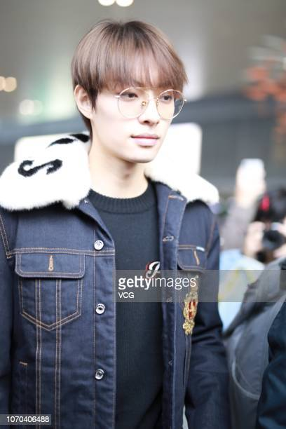 Singer Mu Ziyang is seen at an airport on November 20 2018 in Shanghai China Singer Mu Ziyang cancelled his plan of attending the fashion brand Dolce...