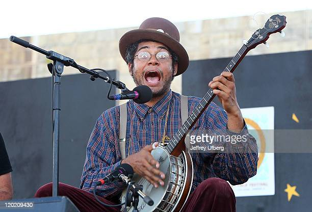 Singer / Musician Dom Flemons of The Carolina Chocolate Drops performs during the 2011 Newport Folk Festival at Fort Adams State Park on July 31 2011...