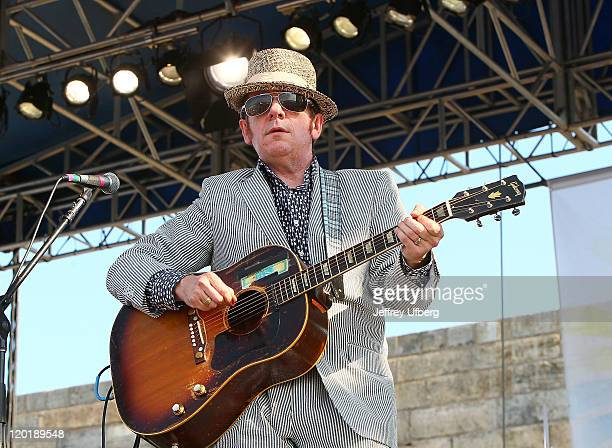 Singer / Musician Elvis Costello performs during the 2011 Newport Folk Festival at Fort Adams State Park on July 31 2011 in Newport Rhode Island