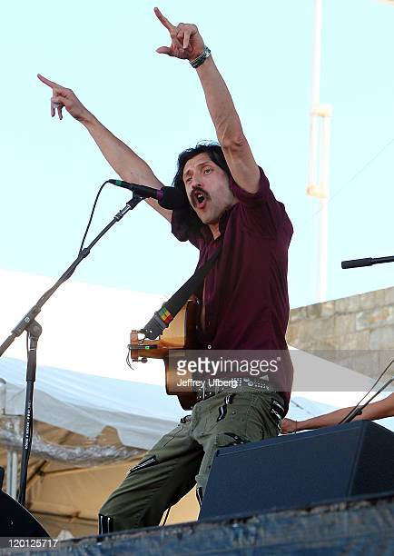 Singer / Musician Eugene Hutz of Gogol Bordello performs during the 2011 Newport Folk Festival at Fort Adams State Park on July 30 2011 in Newport...