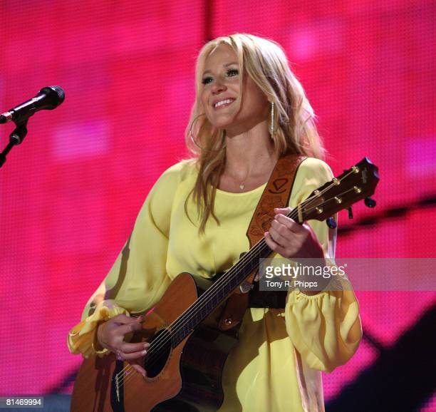 Singer musician Jewel performs onstage during the VAULT Concert Stages during the 2008 CMA Music Festival on June 5 2008 at LP Field in Nashville...