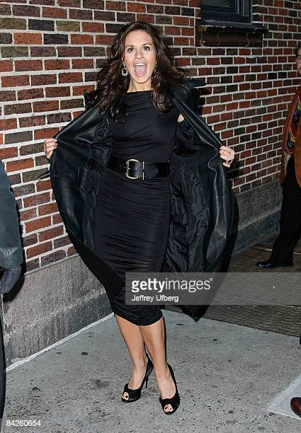 Singer / Musician Kara DioGuardi visits Late Show with David Letterman at the Ed Sullivan Theater on January 12 2009 in New York City