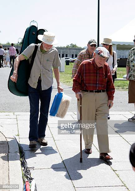Singer / Musician Pete Seeger and Festival Founder George Wein seen during day 1 of the George Wein Folk Festival 50 at Fort Adams State Park on...