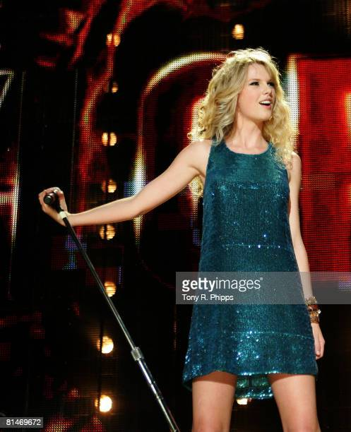 Singer musician Taylor Swift performs onstage during the VAULT Concert Stages during the 2008 CMA Music Festival on June 5 2008 at LP Field in...