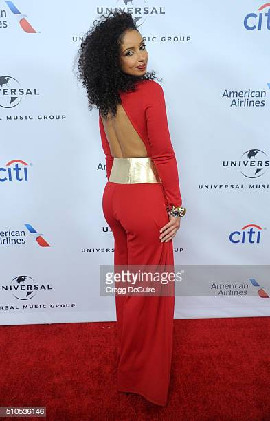 Singer Mya arrives at Universal Music Group's 2016 GRAMMY After Party at The Theatre At The Ace Hotel on February 15 2016 in Los Angeles California