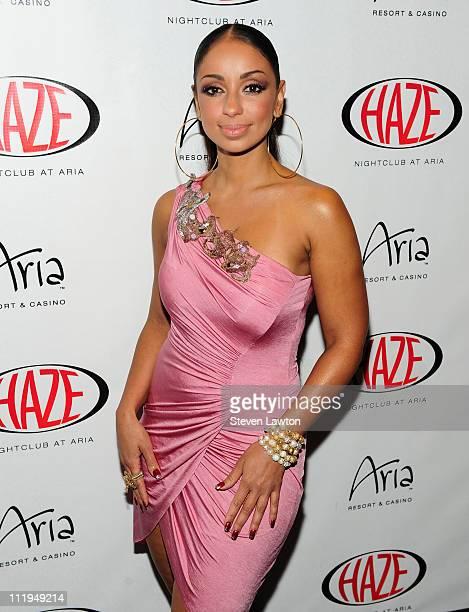 Singer Mya arrives to perform at Haze Nightclub at the Aria Resort Casino at CityCenter on April 9 2011 in Las Vegas Nevada