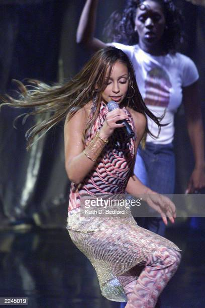 Singer Mya performs as part of the 'Music With A Message World Aids Day 2000 concert presented by LifeBeat The Music Industry Fights Aids' at the...