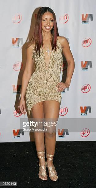 Singer Mya poses backstage at the Vibe Awards Beats Style Flavor at the Santa Monica Civic Center November 20 2003 in Santa Monica California