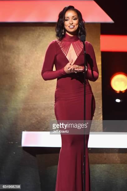 Singer Mya speaks onstage at the Premiere Ceremony during the 59th GRAMMY Awards at STAPLES Center on February 12 2017 in Los Angeles California