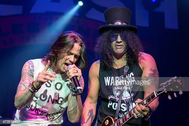 Singer Myles Kennedy and Guitarist Slash perform during Slash featuring Myles Kennedy and The Conspirators in Concert at Terminal 5 on May 7 2015 in...