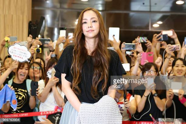 Singer Namie Amuro arrives at Taipei Songshan Airport for 'Namie amuro Final Tour 2018 Finally ~ in Asia' on May 17 2018 in Taipei Taiwan