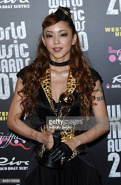 Singer Namie Amuro with her award at the World Music Awards 2010 held at the Sporting Club MonteCarlo on May 18 2010 in MonteCarlo Monaco