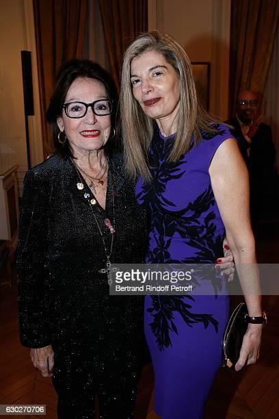 """Singer Nana Mouskouri and Ambassador of Greece in Paris, Maria Theofili attend Nana Mouskouri gives the Greek Prize """"Nikos Gatsos 2016"""" to Charles..."""