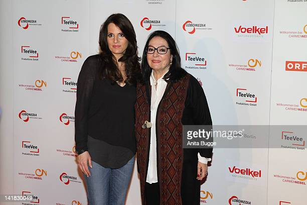 Singer Nana Mouskouri and daughter Lenou Mouskouri arrive to the Carmen Nebel Show after party at the hotel Maritim on March 24 2012 in Berlin Germany