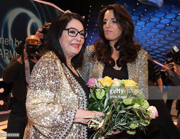 Singer Nana Mouskouri and daughter Lenou Mouskouri attend the Carmen Nebel Show on March 24 2012 in Berlin Germany