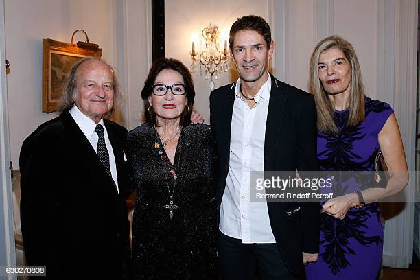 Singer Nana Mouskouri and her husband Andre Chapelle Bernard Thomasson and Ambassador of Greece in Paris Maria Theofili attend Nana Mouskouri gives...