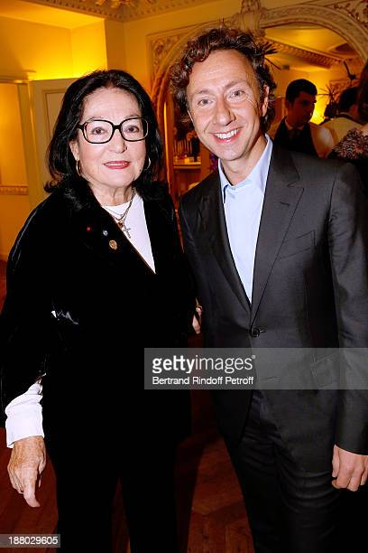 Singer Nana Mouskouri and Stephane Bern attend the 50th Anniversary party of Stephane Bern called Half a century it's party celebrated at Angelina on...