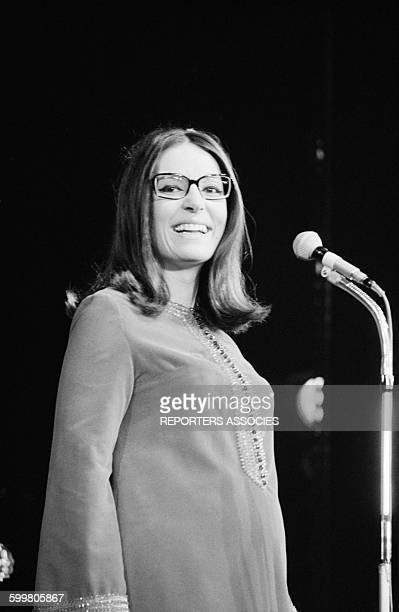 Singer Nana Mouskouri At The Olympia Music Hall In Paris France On October 25 1967