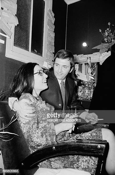 Singer Nana Mouskouri At The Olympia Music Hall With Musician George Petsilas In Paris France On October 25 1967