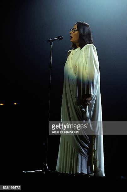 Singer Nana Mouskouri at the Zéenith music hall in Paris France on December 7 1989