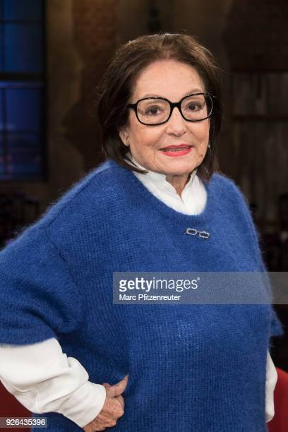 Singer Nana Mouskouri attends the Koelner Treff TV Show at the WDR Studio on March 2 2018 in Cologne Germany