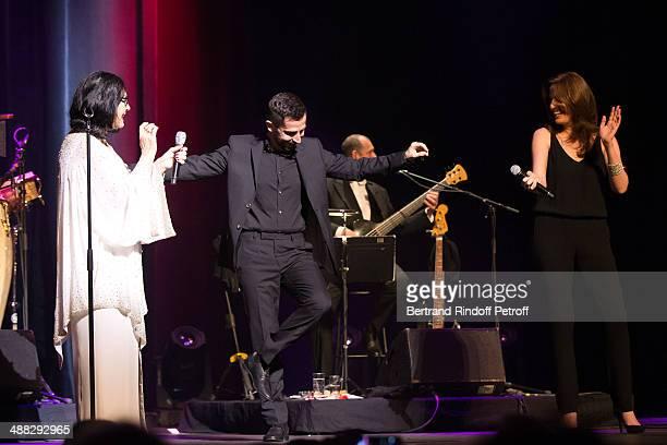 Singer Nana Mouskouri Greek singer Polydoros Vogiatzis and Nana's daughter singer Lenou Petsilas perform at Nana Mouskouri's Happy Birthday Tour Held...