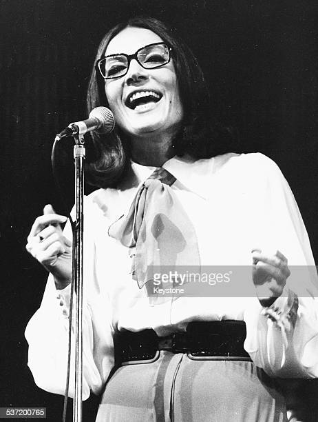 Singer Nana Mouskouri performing on stage at L'Olympia Paris October 8th 1971