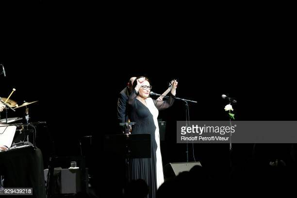 """Singer Nana Mouskouri Performs during """"Forever Young Tour 2018"""" at Salle Pleyel on March 8, 2018 in Paris, France."""