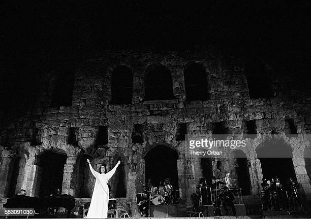Singer Nana Mouskouri performs in the ancient Odeion of Herodes Atticus