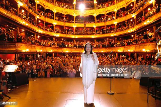 Singer Nana Mouskouri performs on her Happy Birthday Tour. Held at 'Theatre du Chatelet' on March 10, 2014 in Paris, France.