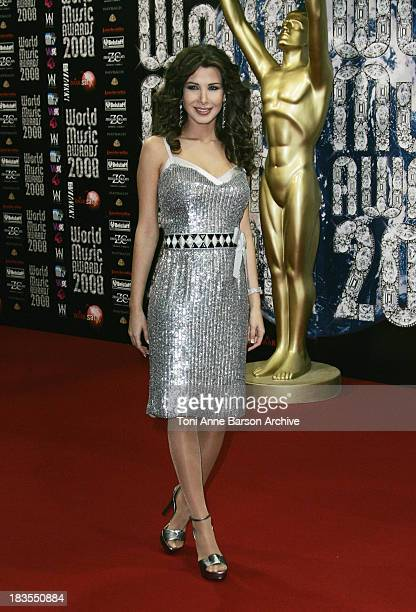 Singer Nancy Ajram arrives for the World Music Awards 2008 at the Monte Carlo Sporting Club on November 9 2008 in Monte Carlo Monaco