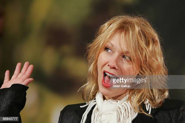 Singer Nancy Wilson gestures as she arrives for the German premiere of 'Elizabethtown' October 17 2005 in Berlin Germany