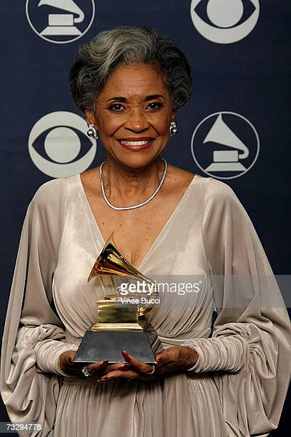 Singer Nancy Wilson poses with her Grammy for Best Jazz Vocal Album for 'Turned To Blue' in the press room at the 49th Annual Grammy Awards at the...