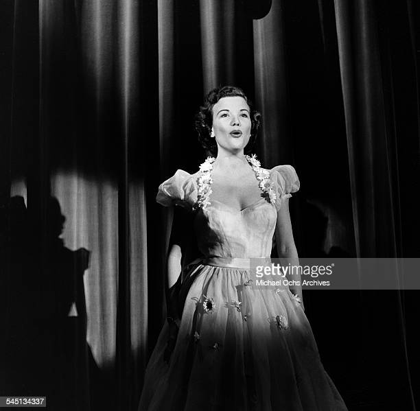 Singer Nanette Fabray performs on the 'Toast of the Town' show hosted by Ed Sullivan at the Maxine Elliott Theater in New York New York