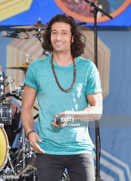 Singer Nasri Atweh from the band Magic performs on ABC's 'Good Morning America' at Rumsey Playfield Central Park on August 22 2014 in New York City