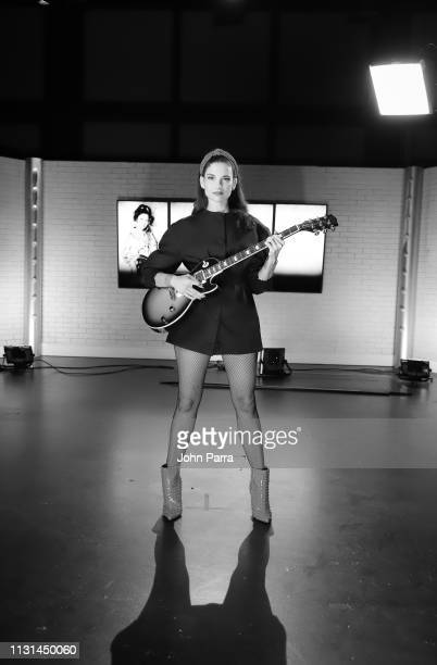 Image has been converted to black and white Singer Natalia Jiménez poses for a portrait on March 14 2019 in Miami Florida