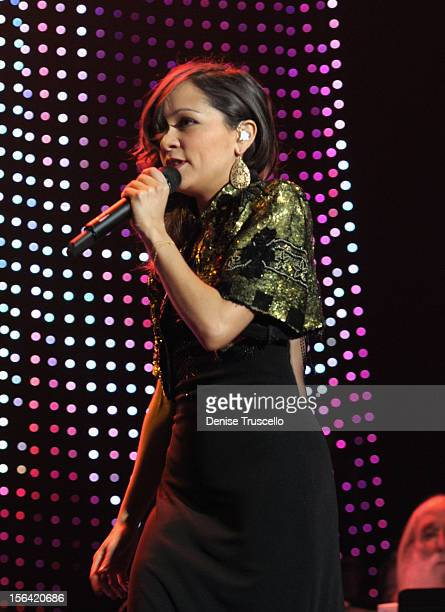 Singer Natalia Lafourcade performs during the 2012 Person of the Year honoring Caetano Veloso at the MGM Grand Garden Arena on November 14 2012 in...